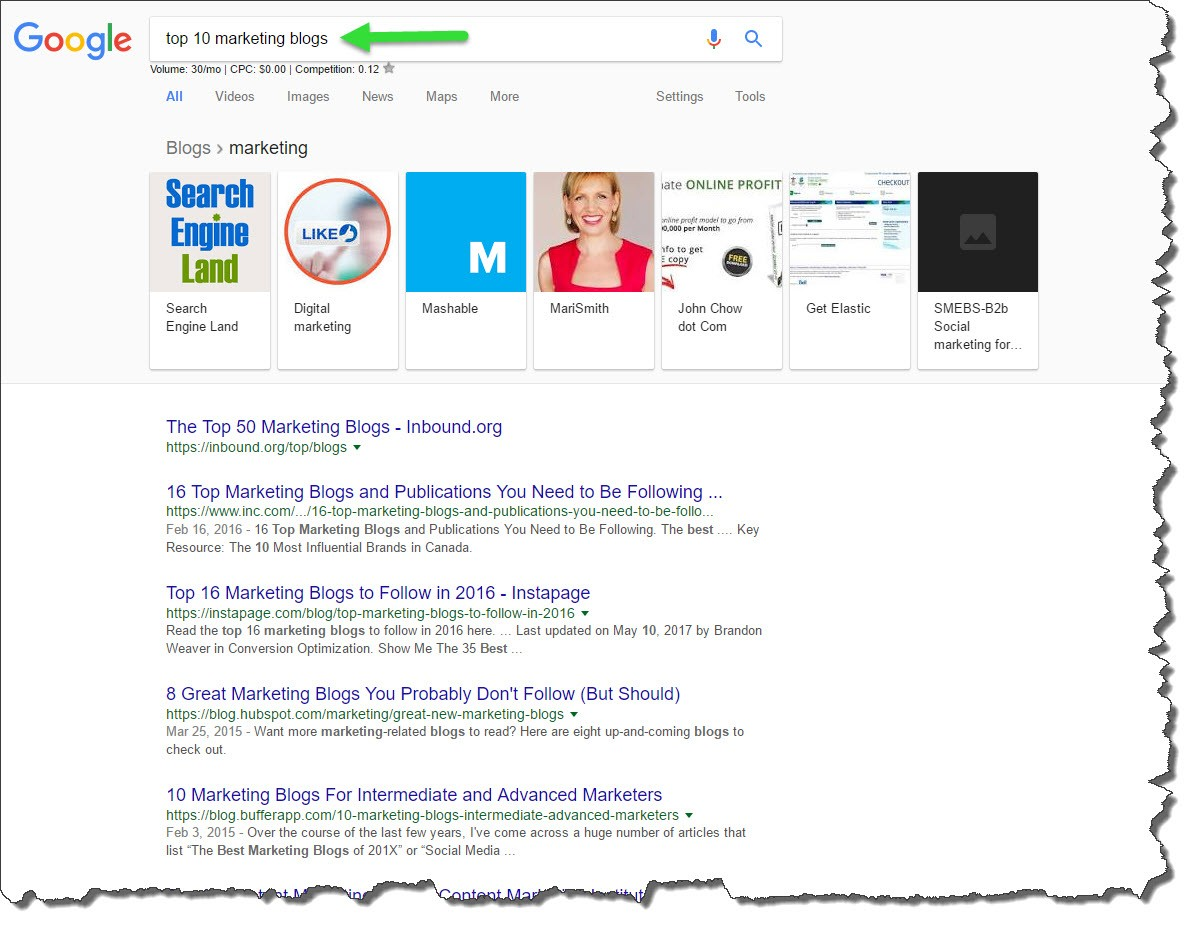 Top 10 Marketing Blogs Google Results