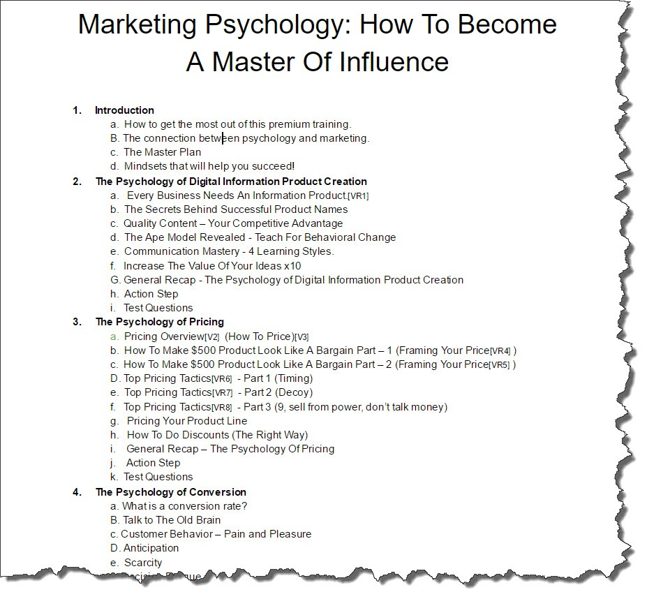 Marketing Psychology: How To Become A Master Of Influence - Curriculum Draft