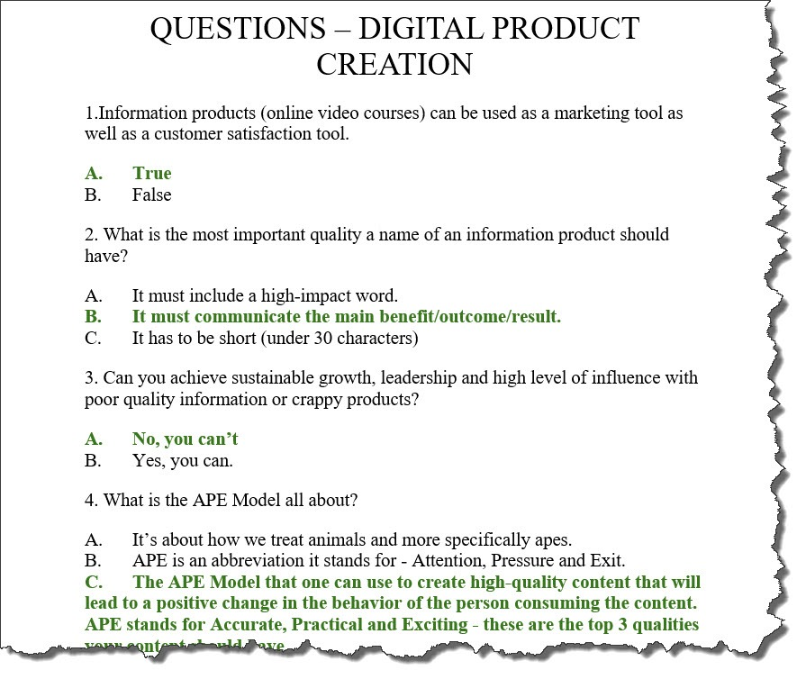 Questions Digital Product Creation For Udemy Course